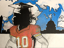 Part of a wall mural featuring a football player in a graduation cap
