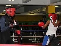 Two teens in boxing ring